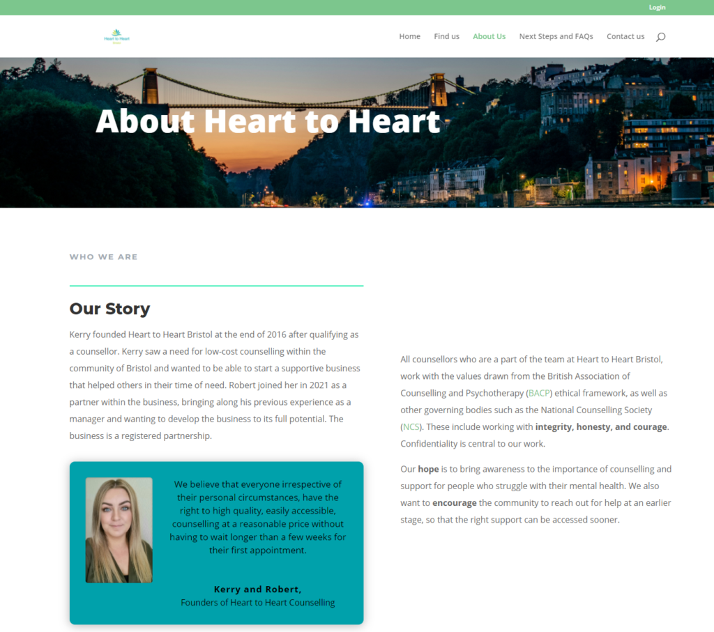 Screenshot of Heart to Heart Bristol About Us Page
